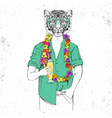 retro hipster animal tiger with tropic cocktail vector image