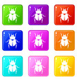 scarab icons 9 set vector image vector image