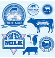 set of icons on the theme of cows milk vector image