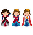 three queens on white background vector image vector image