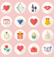 Valentines Day Flat Icon Set vector image