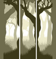 vertical banners of tree trunks with grass vector image vector image