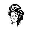 women long hair style icon logo women on white vector image vector image