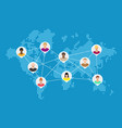 world map with people avatars social netwroking vector image