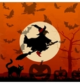 Halloween background with flying witch vector image